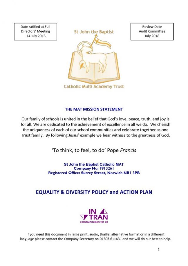 thumbnail of Equality Diversity Policy