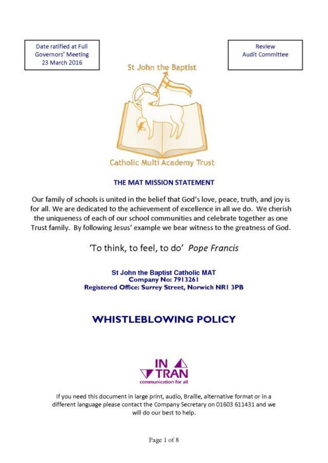 thumbnail of MAT Whistleblowing Policy