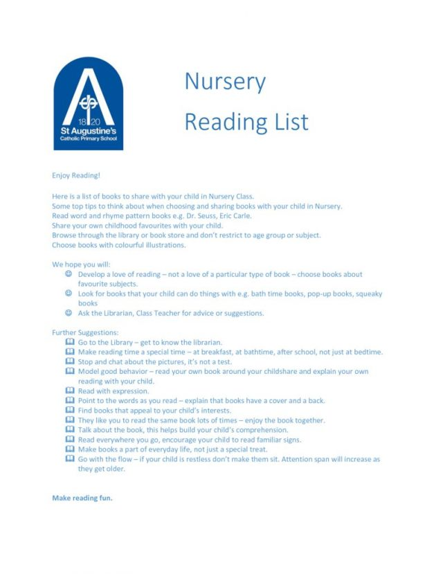 thumbnail of Nursery Guidance for Early Years Reading and Book List