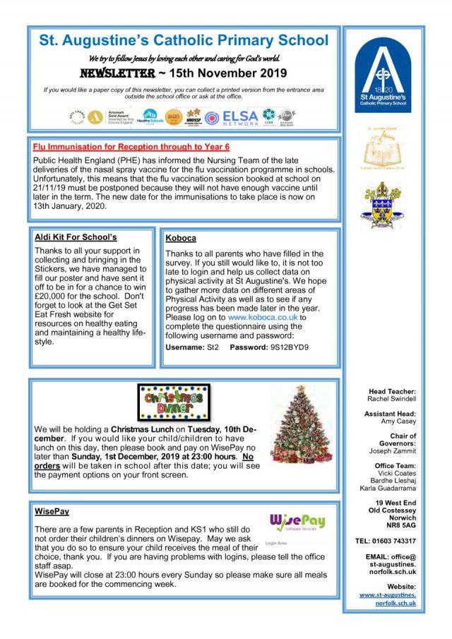 thumbnail of Newsletter 15th November 2019