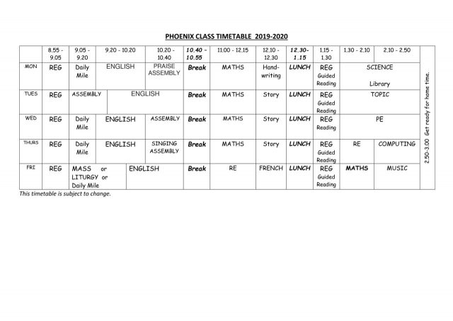 thumbnail of Phoenix Timetable 2019-2020